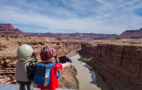 Playmobil photographer, Lee's Ferry, Marble Canyon, Colorado River, Arizona