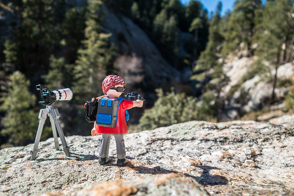 Playmobil photographer. Mt. Lemon, Tucson, Arizona USA