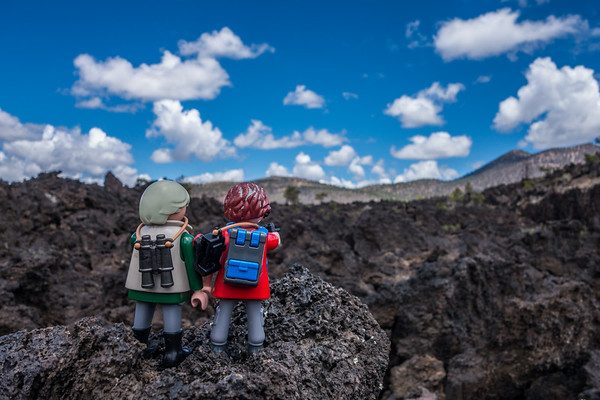 Playmobil Margy & Hans-Werner at Bonito Flow, Sunset Crater Volcano National monument, Arizona