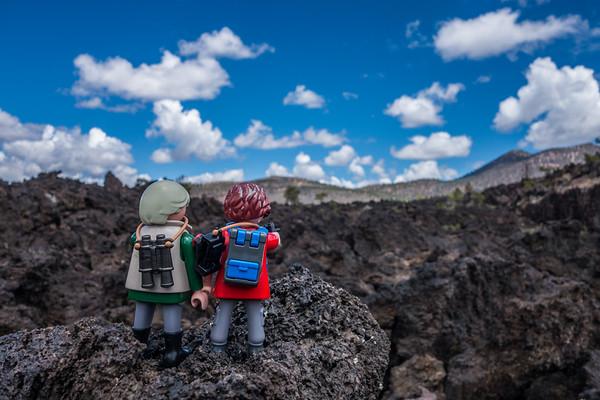 Playmobil Margy & Hans-Werner at Bonito Flow, Sunset Crater Volcano National monument, Arizona
