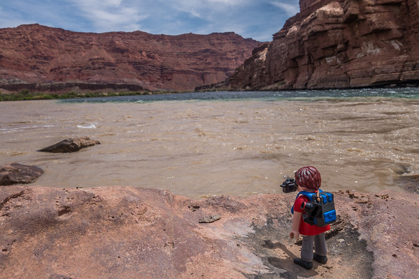 Playmobil photographer, mixing of the Paria River into the Colorado River, Lee's Ferry, Marble Canyon, Colorado River, Arizona