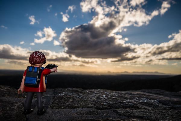 Playmobil photographer overlooking Tucson, Mt. Lemon (Catalina) Highway, Tucson, Arizona USA