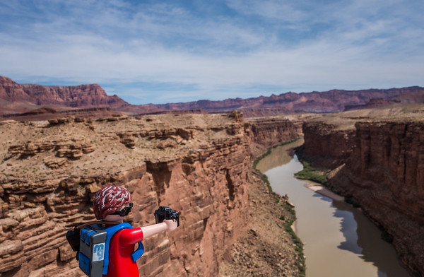 Playmobil photographer, Lee's Ferry, Marble Canyon, Colorado River, Arizona