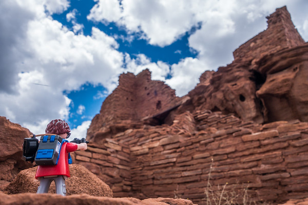 Playmobil photographer, Wupatki Ruins National Monument, Arizona