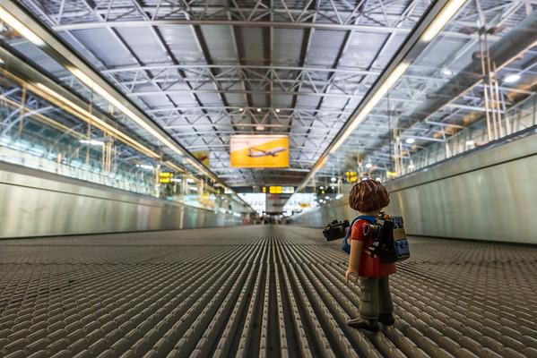 Playmobil photographer. Brussels Airport, Brussels, Belgium