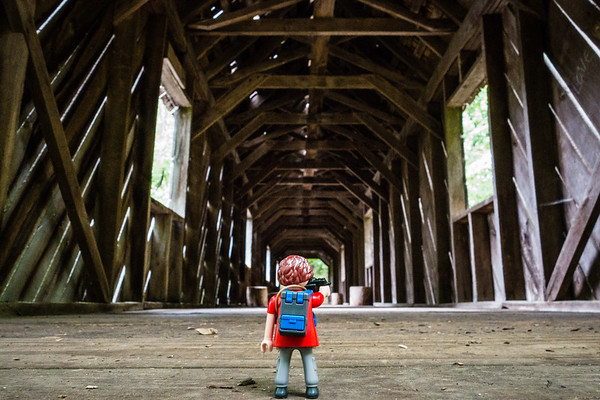 Playmobil found a covered bridge of Madison County. Cambron Covered Bridge, Sky Lake, Madison County Nature Trail, Huntsville, Alabama USA
