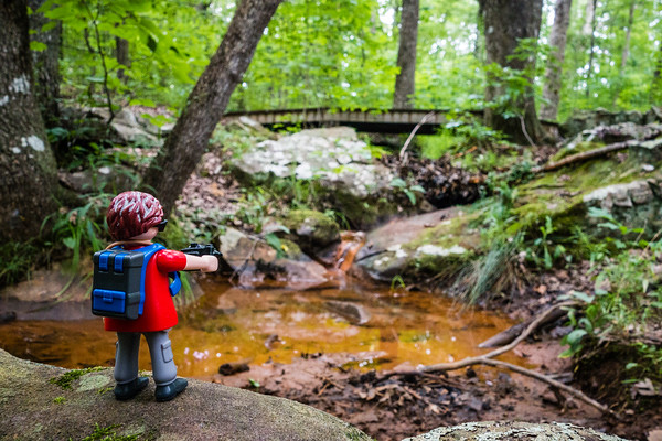 Playmobil on a hike. Madison County Nature Trail, Huntsville, Alabama USA