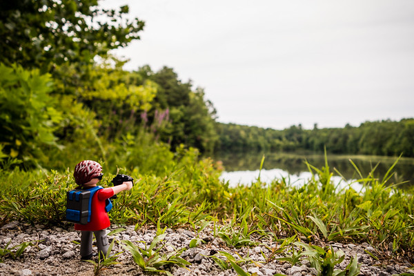 Playmobil on a hike. Sky Lake, Madison County Nature Trail, Huntsville, Alabama USA
