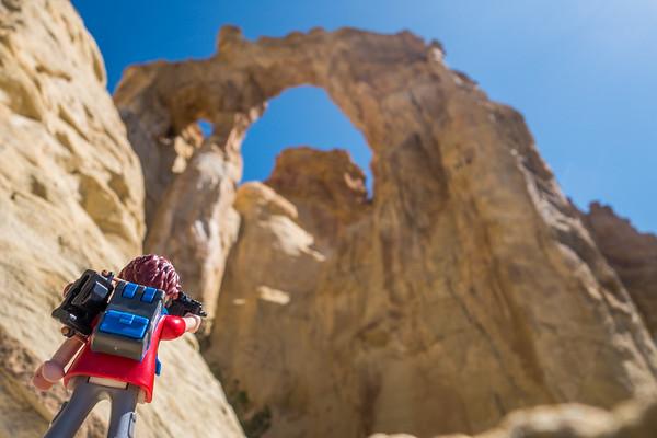 Playmobil photographer, Grosvenor Arch, Grand Staircase - Escalante National Monument, Utah
