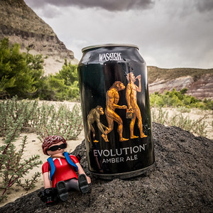 Playmobil photographer and Wasatch Evolution Amber Ale, Just East of Capital Reef National Park, Utah