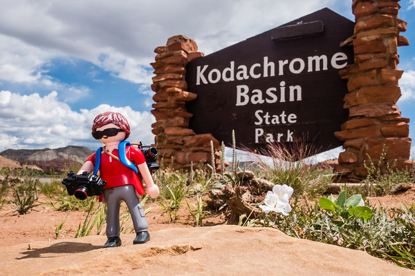 Playmobil photographer, Kodachrome Basin State Park, Utah