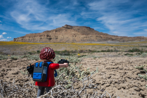 Playmobil photographer. Cottonwood Canyon Road, Utah