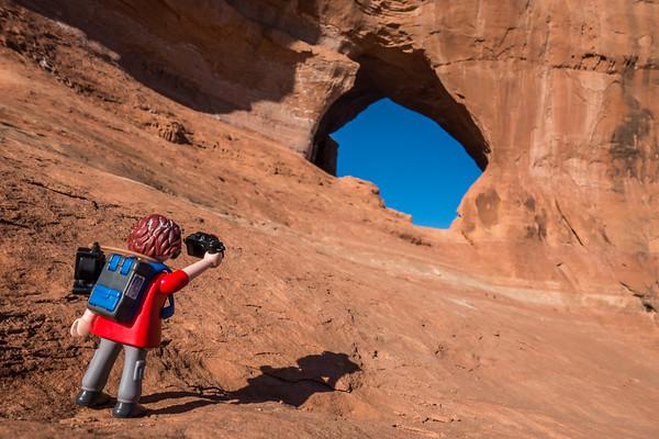 Playmobil photographer. Looking Glass Rock, Utah