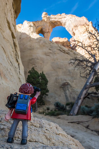 Playmobil photographer, Grosvenor Arch, Grand Staircase - Escalante National Monument, Utah