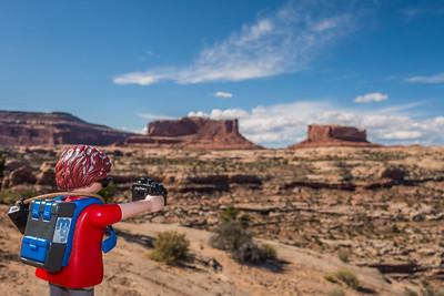Playmobil photographer along Mineral Springs Road (route 313), Utah