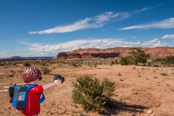 Playmobil photographer along Mineral Springs Road (route 313), Utah