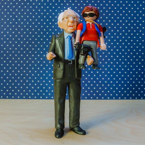 Bernie Sanders and mini me Playmobil photographer.