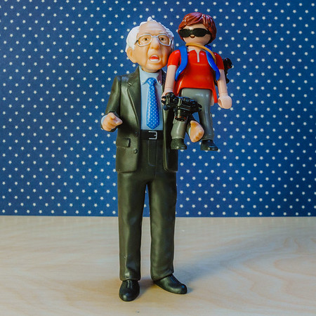 Bernie Sanders and mini me Playmobil photographer.