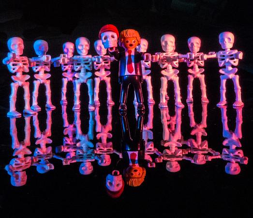 Scary Halloween: Trump and his SkeleGoons.