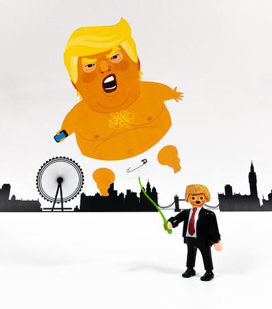 Trump & Trump Baby balloon. London, United Kingdom