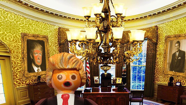 Donald Trump is his gaudily decorated Oval Office. Washington D.C. USA