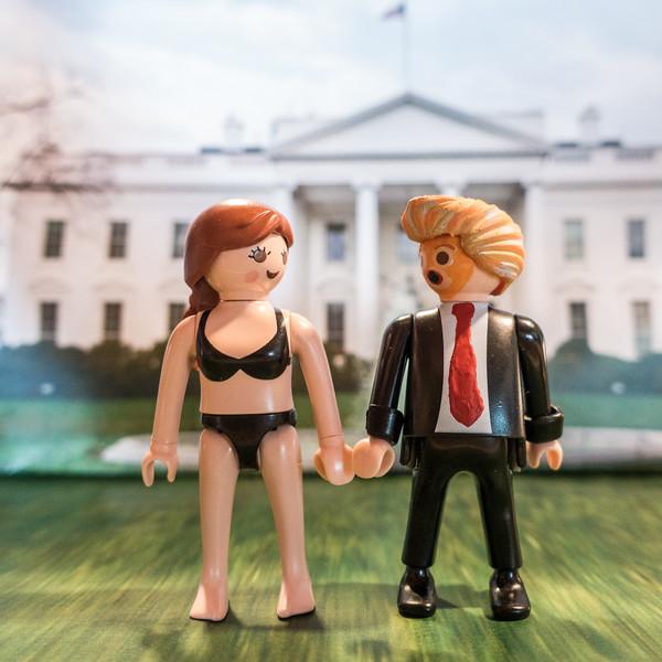 Trump and Melania. White House lawn. Washington D.C. USA