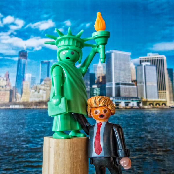 """Der Gropenfuhrer Trump """"Grab her by the Pussy"""" with Lady Liberty. Liberty Island, New York, New York"""