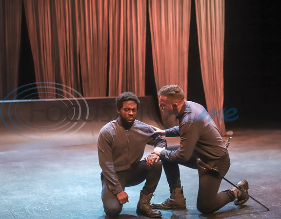 Patrick Richardson and Bryson Chalk run lines during rehearsal of TJC'S production of Othello. Sarah Perez/Freelance