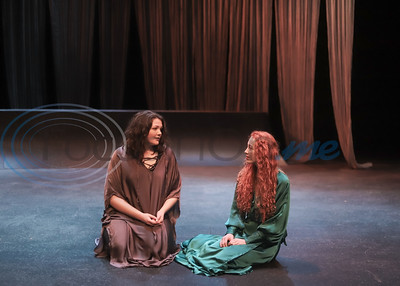 Hanna Odom and Keirsten Cilver run lines during rehearsal of TJC'S production of Othello. Sarah Perez/Freelance