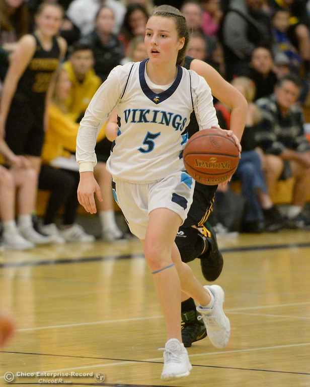 . PV #5 Chloe Mayer dribbles down court against San Ramon Valley during playoff basketball at Varley Gymnasium Tues. March 13, 2018.  (Bill Husa -- Enterprise-Record)