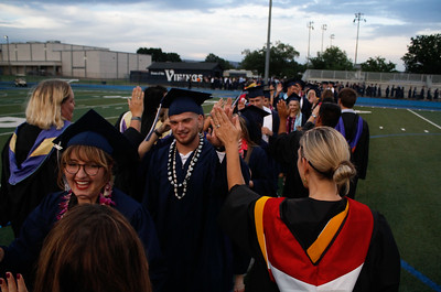 The Pleasant Valley High School class of 2017 enters the commencement ceremony Wednesday June 7, 2017 in Chico, California. (Emily Bertolino -- Enterprise-Record)