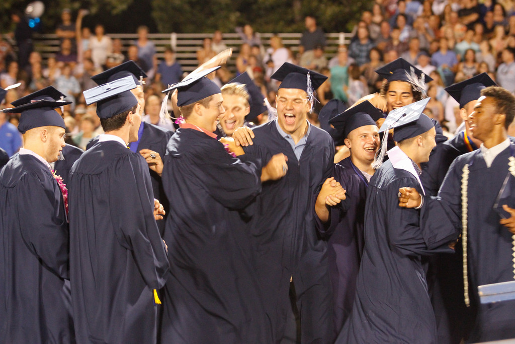 . Graduates get excited during the Pleasant Valley High School commencement ceremony for the class of 2017 Wednesday June 7, 2017 in Chico, California. (Emily Bertolino -- Enterprise-Record)