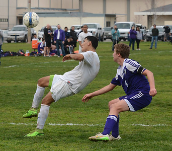 The Northern Section boys soccer final Saturday, Feb. 27, 2016, between Pleasant Valley and Shasta high schools in Chico, California. (Dan Reidel -- Enterprise-Record)