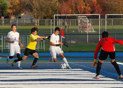 Pleasant Valley's Daniel Rodriguez angles in for a shot at the goal in their season opener soccer game against Live Oak Monday November 28, 2016 in Chico, California. (Emily Bertolino -- Enterprise-Record)