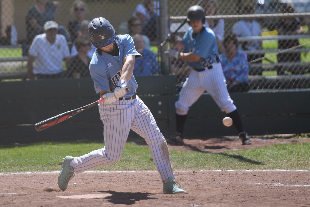 . Pleasant Valley High\'s Anthony Montalvo is up to bat during a home game against Las Plumas High, May 11, 2018,  in Chico, California. (Carin Dorghalli -- Enterprise-Record)