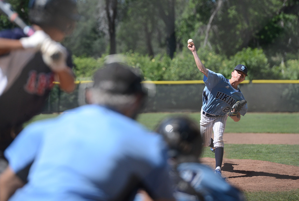 . Pleasant Valley High\'s Jagger Pico pitches the ball during a home game against Las Plumas High, May 11, 2018,  in Chico, California. (Carin Dorghalli -- Enterprise-Record)