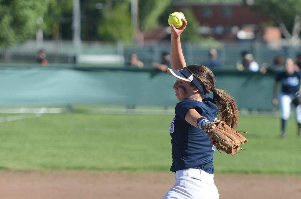 . Pleasant Valley High\'s Christina Crum pitches the ball, April 19, 2018, in Chico, California. (Carin Dorghalli -- Enterprise-Record)