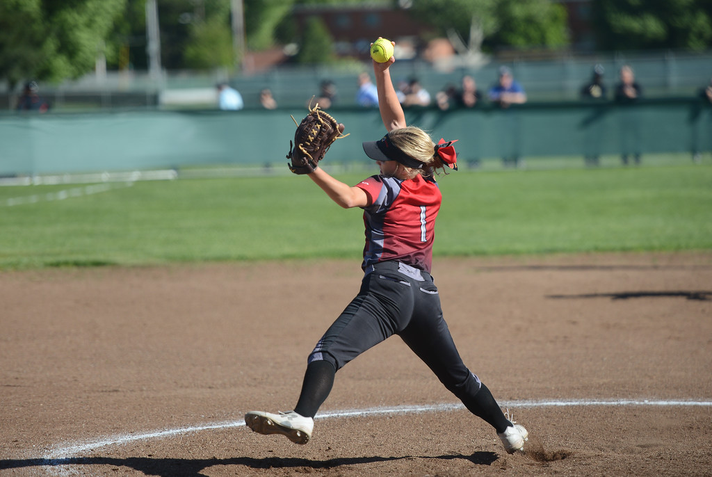 . Chico High\'s Marissa Woolsey pitches the ball, April 19, 2018, in Chico, California. (Carin Dorghalli -- Enterprise-Record)