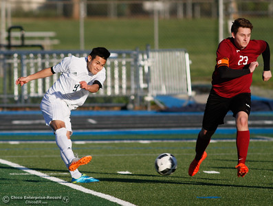 Pleasant Valley's Daniel Rodriguez's uses his quick feet to move past West Valley's Dylan Braund to score one of his four goals helping the Vikings defeats West Valley 6-1 in Northern Section Division 1 semifinal soccer match Thursday February 23, 2017 at Pleasant Valley High School in Chico, California. (Emily Bertolino -- Enterprise-Record)