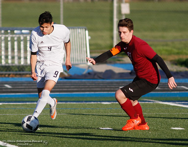Pleasant Valley's Daniel Rodriguez uses his quick feet to move past West Valley's Dylan Braund to score one of his four goals helping the Vikings defeats West Valley 6-1 in Northern Section Division 1 semifinal soccer match Thursday February 23, 2017 at Pleasant Valley High School in Chico, California. (Emily Bertolino -- Enterprise-Record)