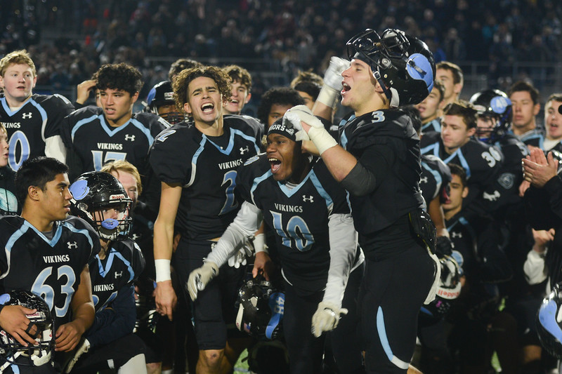 Pleasant Valley players celebrate their victory over Central Valley Christian in the CIF State Championship game, Dec. 8, 2018, in Chico. (Carin Dorghalli -- Enterprise-Record)