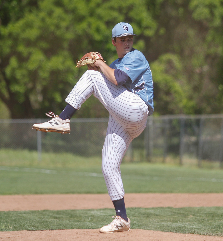 Pleasant Valley's Tyler Coleman pitches against Red Bluff in a doubleheader baseball game Tuesday April 18, 2017 at Doryland Field in Chico, California. (Emily Bertolino -- Enterprise-Record)