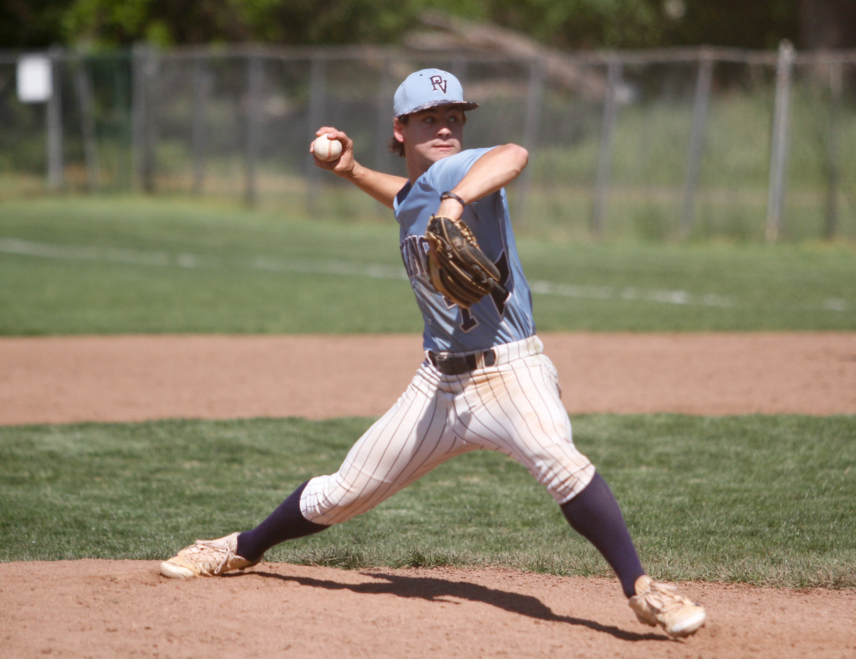 Pleasant Valley's Colby Harrison pitches against Red Bluff in a doubleheader baseball game Tuesday April 18, 2017 at Doryland Field in Chico, California. (Emily Bertolino -- Enterprise-Record)