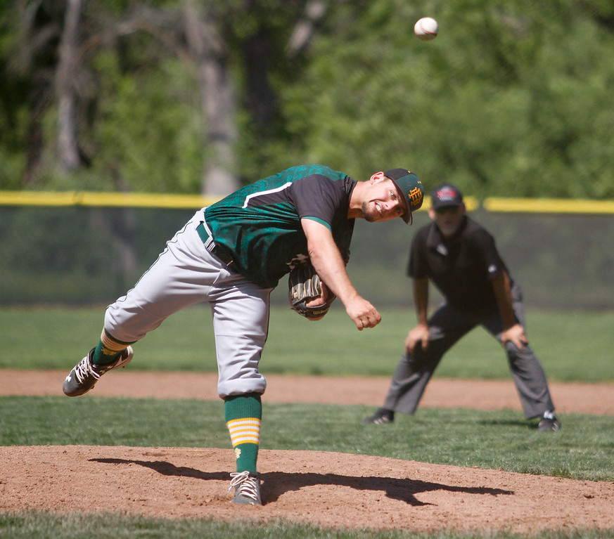 . Red Bluff\'s Kolby Button pitches against Pleasant Valley during a doubleheader baseball game Tuesday April 18, 2017 at Doryland Field in Chico, California. (Emily Bertolino -- Enterprise-Record)