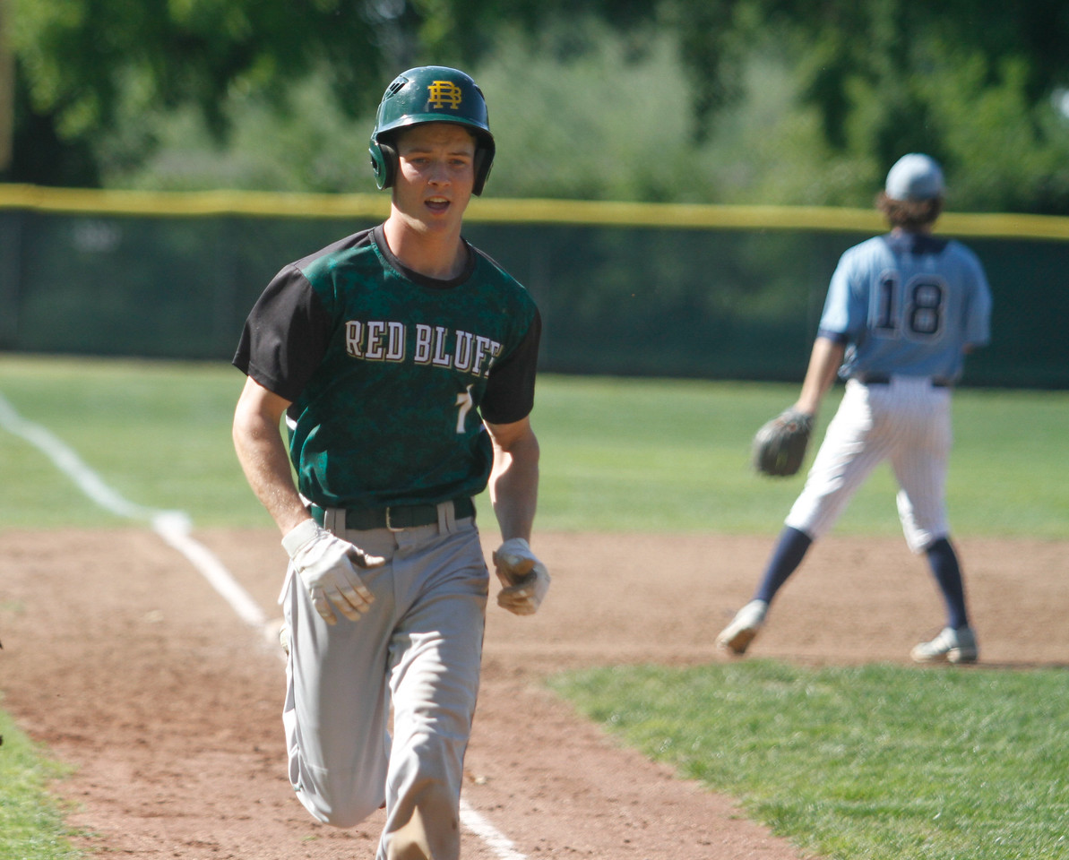Red Bluff's Austin Youngblood makes it home during a doubleheader baseball game against Pleasant Valley Tuesday April 18, 2017 at Doryland Field in Chico, California. (Emily Bertolino -- Enterprise-Record)