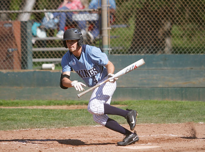 Pleasant Valley's Austin Caviness takes off after a hit down left field during a baseball game against Red Bluff Tuesday April 18, 2017 at Doryland Field in Chico, California. (Emily Bertolino -- Enterprise-Record)