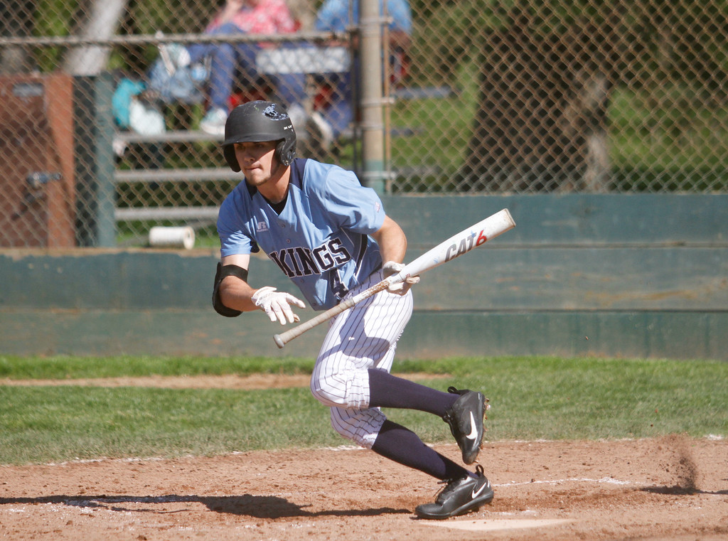 . Pleasant Valley\'s Austin Caviness takes off after a hit down left field during a baseball game against Red Bluff Tuesday April 18, 2017 at Doryland Field in Chico, California. (Emily Bertolino -- Enterprise-Record)