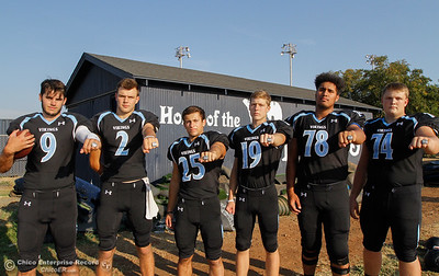 Pleasant Valley High football players Kyle Lindquist (9), Payton Williams (2), Jordan Cooley (25), Max Andersen (19), Syrus Tuitele (78) and Ashton Morgan (74) are ready to defend their section title August 22, 2016 at Pleasant Valley High School in, Calif. (Emily Bertolino -- Enterprise-Record)