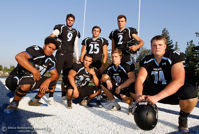 Pleasant Valley's Syrus Tuitele (78), Kyle Lindquist (9), Ryan Busby (23), Jordan Cooley (25), Payton Williams (2), Max Andersen (19) and Ashton Morgan (74) are ready to defend their section title August 22, 2016 at Pleasant Valley High School in, Calif. (Emily Bertolino -- Enterprise-Record)