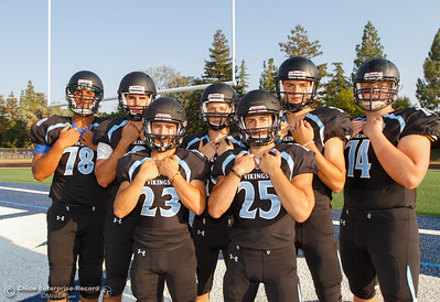 Pleasant Valley's Syrus Tuitele, Kyle Lindquist, Ryan Busby, Max Andersen, Jordan Cooley, Payton Williams and Ashton Morgan invite you to Asgard Yard August 22, 2016 at Pleasant Valley High School in, Calif. (Emily Bertolino -- Enterprise-Record)